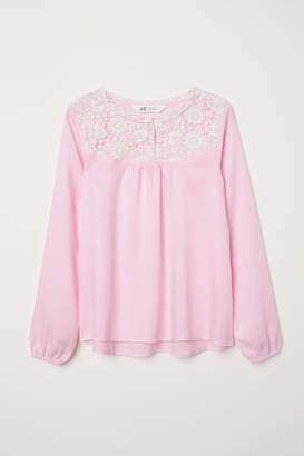 H&M Blouse with Lace - Pink
