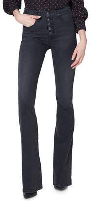 """Veronica Beard Beverly 10"""" Rise Skinny Flare Jeans with Button Fly"""