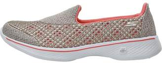 Skechers Womens GOwalk 4 Kindle Trainers Taupe/Coral