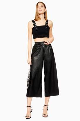 Topshop PU Wide Crop Trousers