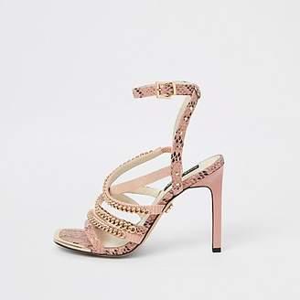cafb673f9 River Island Womens Pink multi chain strap heel sandal