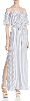 Alice + Olivia Grazi Off-the-Shoulder Striped Maxi Dress $330 thestylecure.com