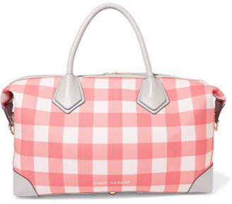 Eddie Harrop - Voyager Leather-trimmed Gingham Canvas Weekend Bag - Pink