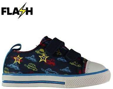 Kids Light Up Trainers Infants Canvas Low Padded Ankle Collar Hook and