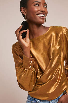 Anthropologie Elisa Metallic Top