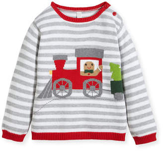 Zubels Boys' Gingerman Train Striped Knit Sweater