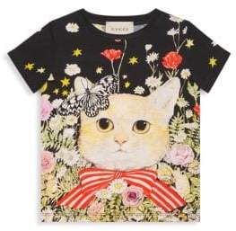 Gucci Girl's Cotton Roundneck Kitten Tee