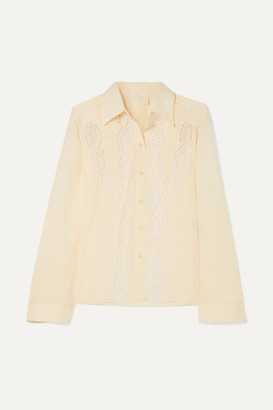 Chloé Lace-trimmed Silk Crepe De Chine Shirt