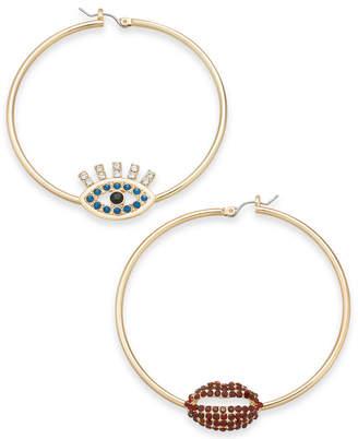 Thalia Sodi Gold-Tone Crystal Evil Eye & Lip Mismatch Hoop Earrings