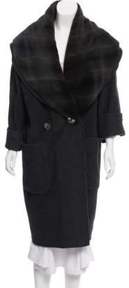 Fendi Fur Trim Wool Long Coat