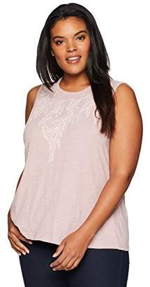 Lucky Brand Women's Size Plus Embroidered Leaf Ruched Back Tank TOP