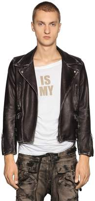 Faith Connexion Cropped Fit Vintage Leather Biker Jacket