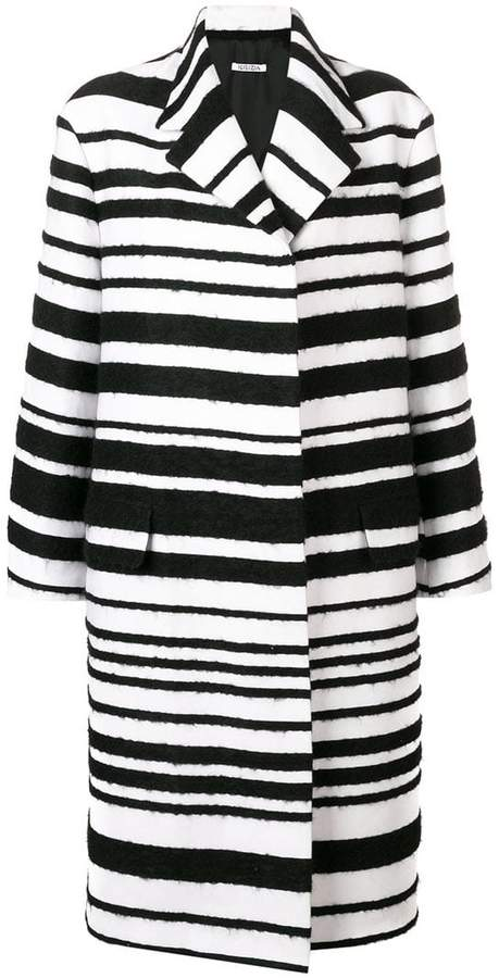 striped single breasted coat