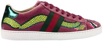 Gucci Sneakers Velvet New Ace Sneaker With Side Web Bands And Dragon Embroidery