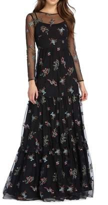 ML Monique Lhuillier L/S Floral Gown