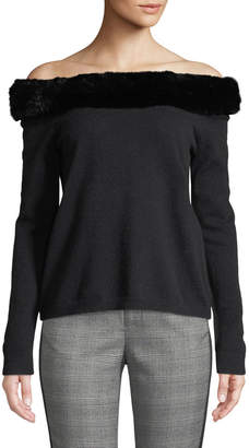 Neiman Marcus Fur-Trimmed Cashmere Off-The-Shoulder Sweater