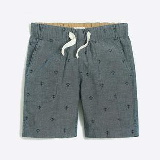 J.Crew Factory Boys' chambray pull-on critter short in anchors