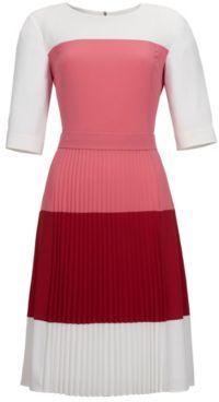 Hugo Boss Disena Colorblock, Pleated Crepe Dress 4 Red $695 thestylecure.com