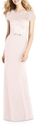 Jenny Packham Bridesmaids Sweetheart Illusion Cap-Sleeve Marquis Lace & Crepe Column Bridesmaids Dress