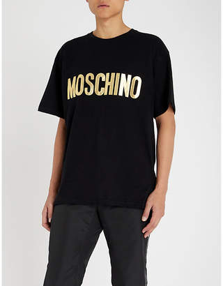 Moschino Metallic logo-appliqué cotton-jersey T-shirt