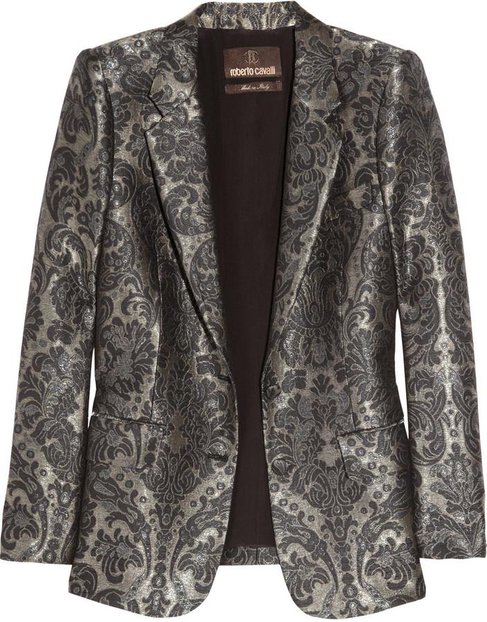 Roberto Cavalli Silk-blend jacquard jacket