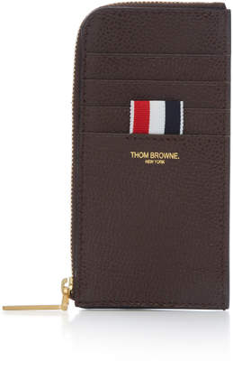 Thom Browne Pebble-Grain Leather Zip Card Case