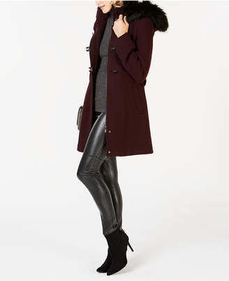 Calvin Klein Faux-Fur-Trim Hooded Coat
