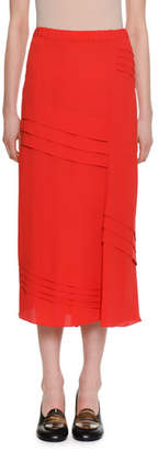 Marni Elastic-Waist A-Line Silk-Woven Ankle-Length Skirt w/ Pleats
