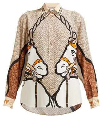 6befa1012c13c Burberry Unicorn Print Silk Blouse - Womens - Beige Multi
