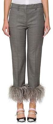 Prada Women's Feather-Embellished Wool-Blend Crop Trousers - Gray