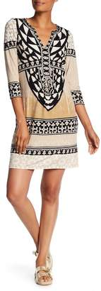Hale Bob 3/4 Length Sleeve Print Dress