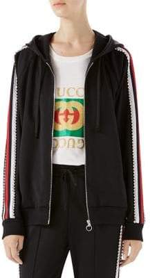 Gucci Crystal-Trim Jersey Zip Jacket