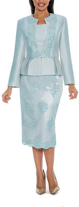 GIOVANNA COLLECTION Giovanna Collection Women's Soutache Embellished Peplum 3 Piece Skirt Suit