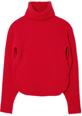Antonio Berardi Cutout Ribbed Wool And Cashmere-blend Turtleneck Sweater - Red