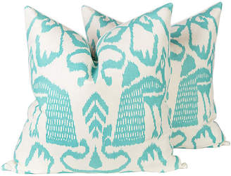 One Kings Lane Vintage China Seas Teal Bali Isle Pillows - Pr