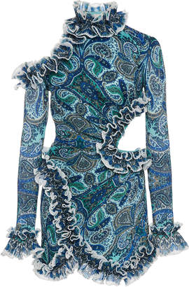 Zimmermann Moncur Cutout Plisse Mini Dress