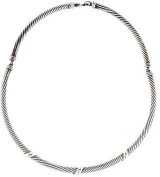 David Yurman Two-Tone X Station Cable Necklace