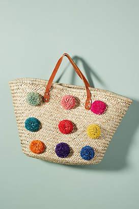 Anthropologie Electra Pom Straw Tote Bag