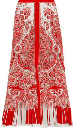 Paisley-print Silk Crepe De Chine Midi Skirt - Red