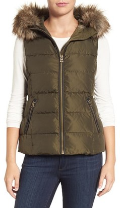 Lucky Brand Hooded Puffer Vest with Faux Fur Trim $210 thestylecure.com
