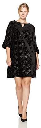 Sandra Darren Women's Plus Size 1 Pc 3/4 Bell Sleeve Velvet Dress