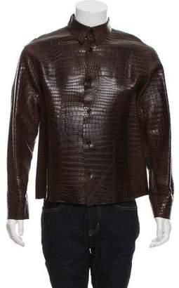 Prada Crocodile Button-Down Jacket