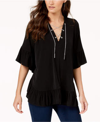 Michael Kors Chain Lace-Up Caftan Top