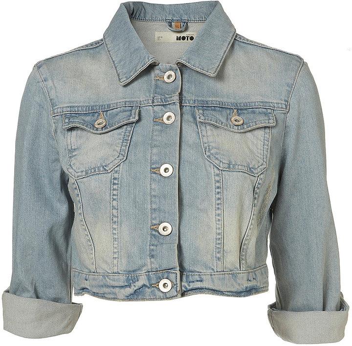 Bleached Denim 3/4 Sleeve Crop Jacket