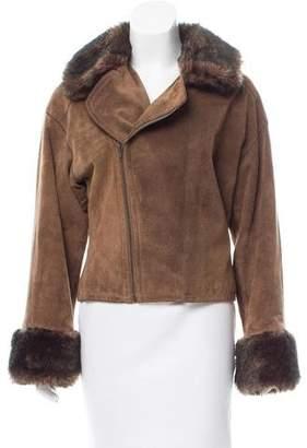 Emporio Armani Faux Fur Trimmed Suede Jacket