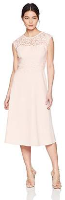 Jessica Howard Women's Petite Tea Length Dress with Lace Trim