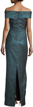 Rickie Freeman For Teri Jon Off-the-Shoulder Metallic Stretch Evening Gown