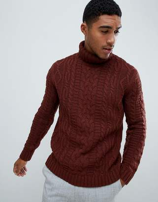 Asos DESIGN heavyweight cable knit roll neck sweater in brown