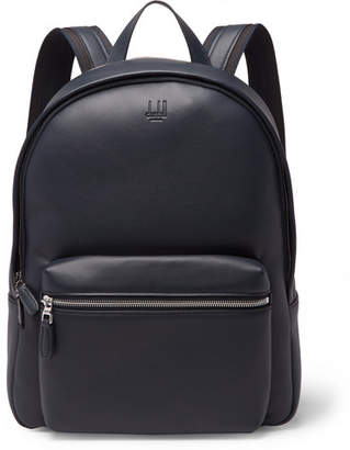 Dunhill Hampstead Canvas-Panelled Full-Grain Leather Backpack - Men - Midnight blue