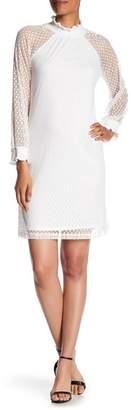 Nina Leonard Shirred Mock Neck Dot Dress